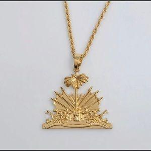 Jewelry - Haiti necklace, haiti flag men necklace